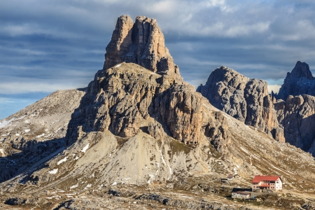 View of Drei Zinnen Nature Park in Italy dolomites