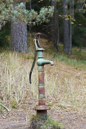operated: Old hand operated water pump from a spring in the forest