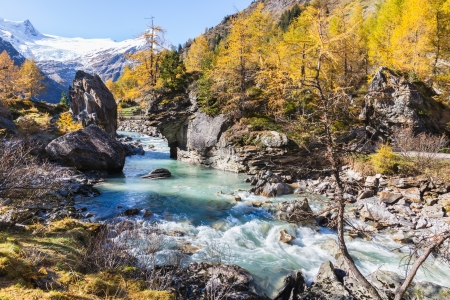 Rapid River in autumn alp landscape photo