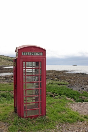 rhum: Phonebooth in the wilderness. Stock Photo
