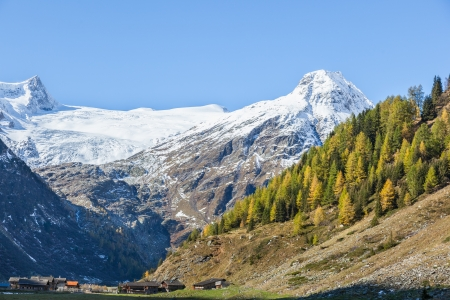 osttirol: View of an alp valley with farms Stock Photo