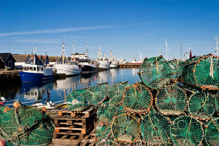 s trap: Lobster trap on the Quay Stock Photo