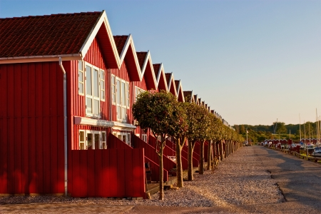 Red terrace house in evening light photo