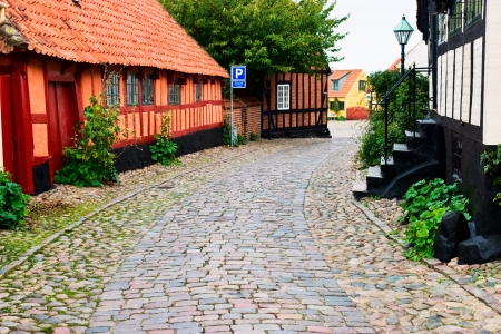 half timbered house: Old half timbered house an a cobblestone street