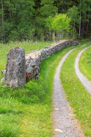 Old farm road between stone walls in the meadow photo
