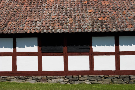 timbering: Half timbering red and white barn