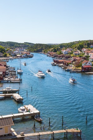 sailingboat: View of of an old fishing village on the Swedish west coast