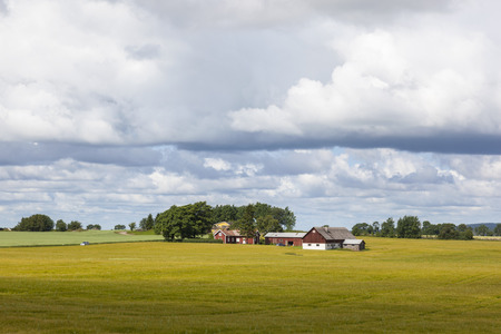 Small farm in the rural landscape Imagens