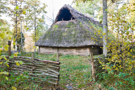 Old longhouse from Stone age Stock Photo