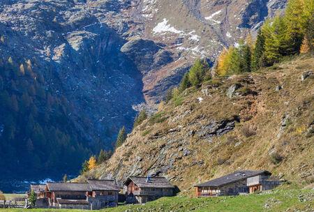 Old alp village in the mountain Stock Photo