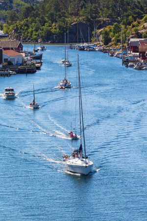 sailingboat: Boats in a canal in summer
