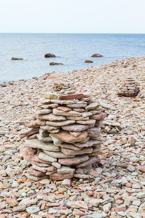 cairn: Stone Cairn at the coast Stock Photo