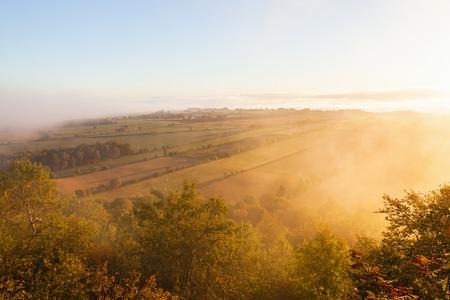 Morning mist countryside landscape photo