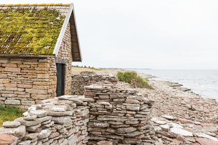 boathouse: Old boathouse at the coast Stock Photo