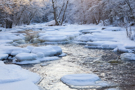 wintry: Flowing river in wintry woods