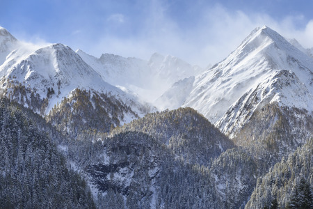 snowcapped: View of mountains with snow Stock Photo