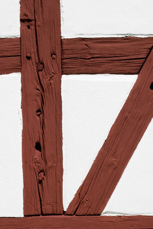 timbering: Half timbering red and white wall Stock Photo