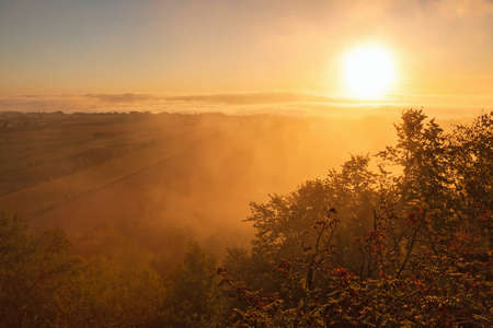 Sunricet and morning mist in the contryside landscape photo