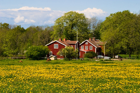Red farm house on the field