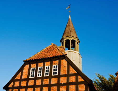 half timbered house: Half Timbered house with a tower Stock Photo