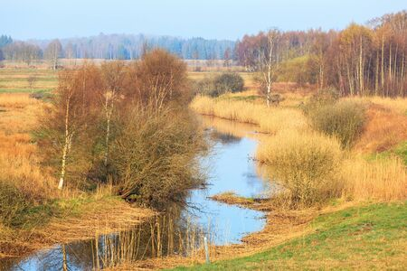 meanders: River that meanders through the landscape Stock Photo