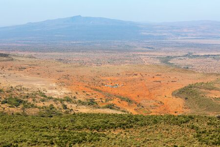 extreme angle: View of the Rift Valley landscape in Kenya Stock Photo