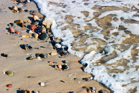 a bathing place: waves run in to the beach Stock Photo