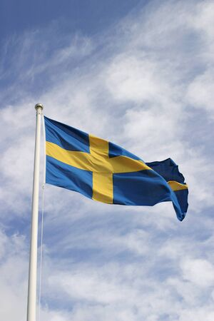 Swedish flag on the national day. Imagens
