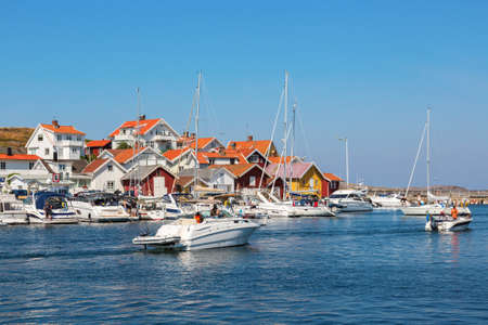 nautical structure: Boats in the harbor on the coastal village on the Swedish west coast Editorial