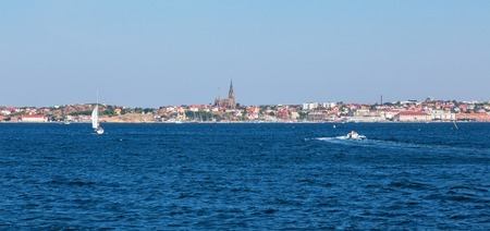 west  coast: Lysekil city with the church by the sea on west coast of Sweden Stock Photo