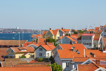 west  coast: View of rooftops in a coastal settlement on the Swedish west coast Stock Photo