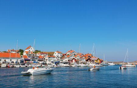 west  coast: Boats in the harbor of the little coastal village on the Swedish west coast Stock Photo