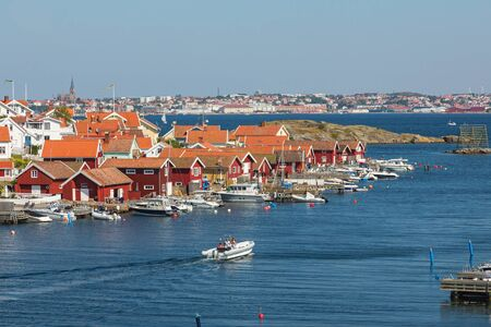 nautical structure: View over Fiskebackskil an old fishing village on the Swedish west coast, with Lysekil city in the background