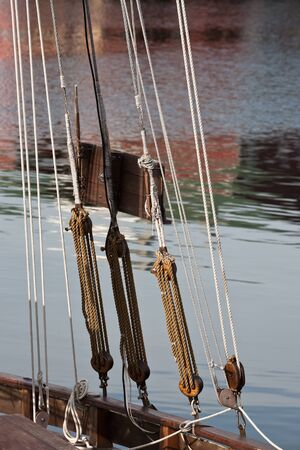 tackle: Block and tackle, pulley rope on a old ship