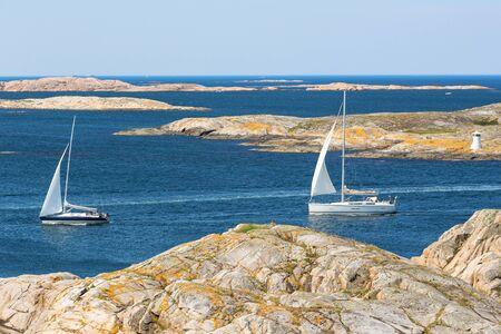 archipelago: Sailing boats in rocky sea archipelago