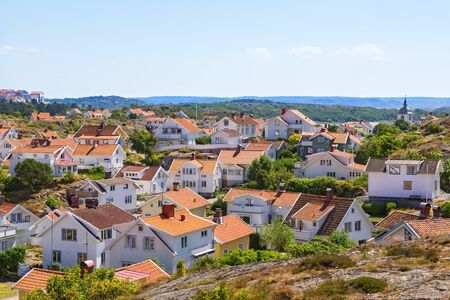 residential idyll: View of Grundsund, a coastal village on the Swedish west coast Stock Photo