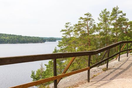 wooded path: View of lake and woods from a hiking trail