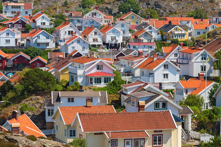 residential idyll: View over the rooftops in a coastal village in Sweden