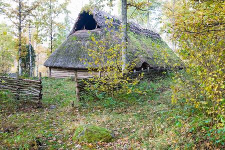 edad de piedra: Antigua casa comunal de la edad de piedra Foto de archivo