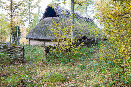 prehistory: Old longhouse from Stone age Stock Photo