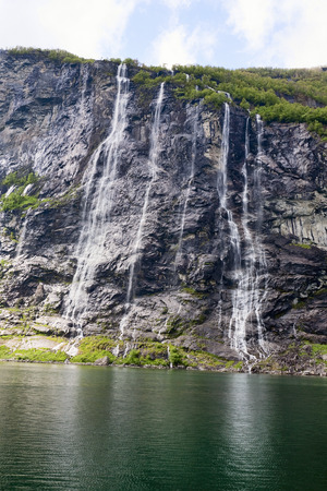 seven sisters: The Seven Sisters waterfall in Geiranger, Norway Stock Photo