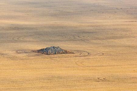 stubble field: Stone cairn on a stubble field Stock Photo