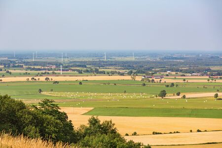 rural landscapes: Views of the rural landscapes and with farms and wind turbines Stock Photo