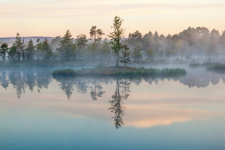 Ochtend mist op een meer