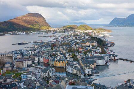 alesund: View of Alesund on Norwegian coast by the sea Stock Photo