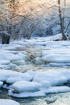 frozen river: Frozen river in winter scenery
