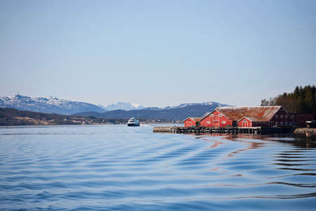 waterscapes: Norwegian fishing village at the coast Stock Photo