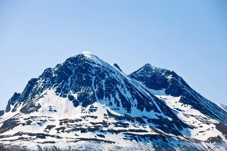 capped: Mountain with snow capped peaks Stock Photo