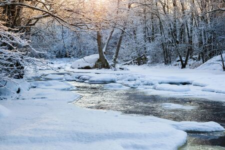 Sunset in the forest by the river with snow and ice