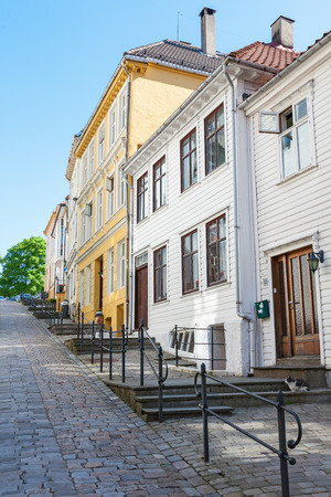 urban idyll: Street and stairs at the wooden houses in Bergen, Norway